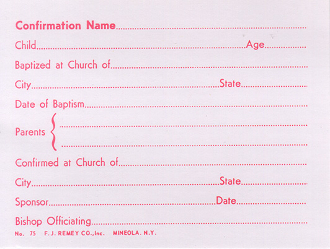No. 75 Confirmation Name Card