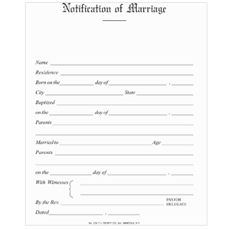 No. 309 Marriage Notification - Simple Form