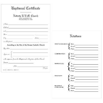 No. 305 Baptismal Forms - Certificate