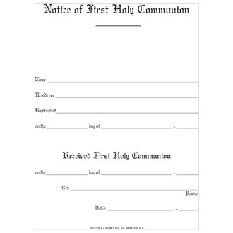 No. 179 Notice of 1st Holy Communion