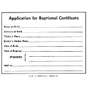 No. 320 Baptismal Forms - Application
