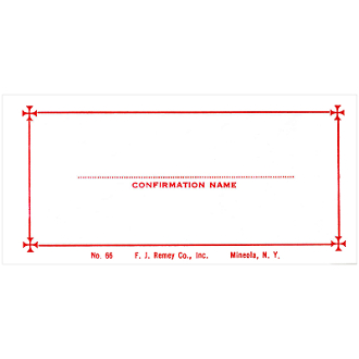No. 66 Confirmation Name Card - Name Only