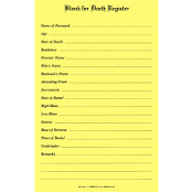 No. 319 - Death Register Blanks