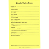 No. 136 Baptismal Blank Register Form