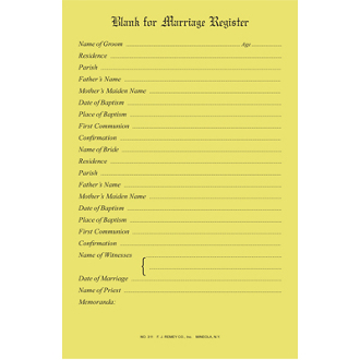 No. 311 - Marriage Register Blanks