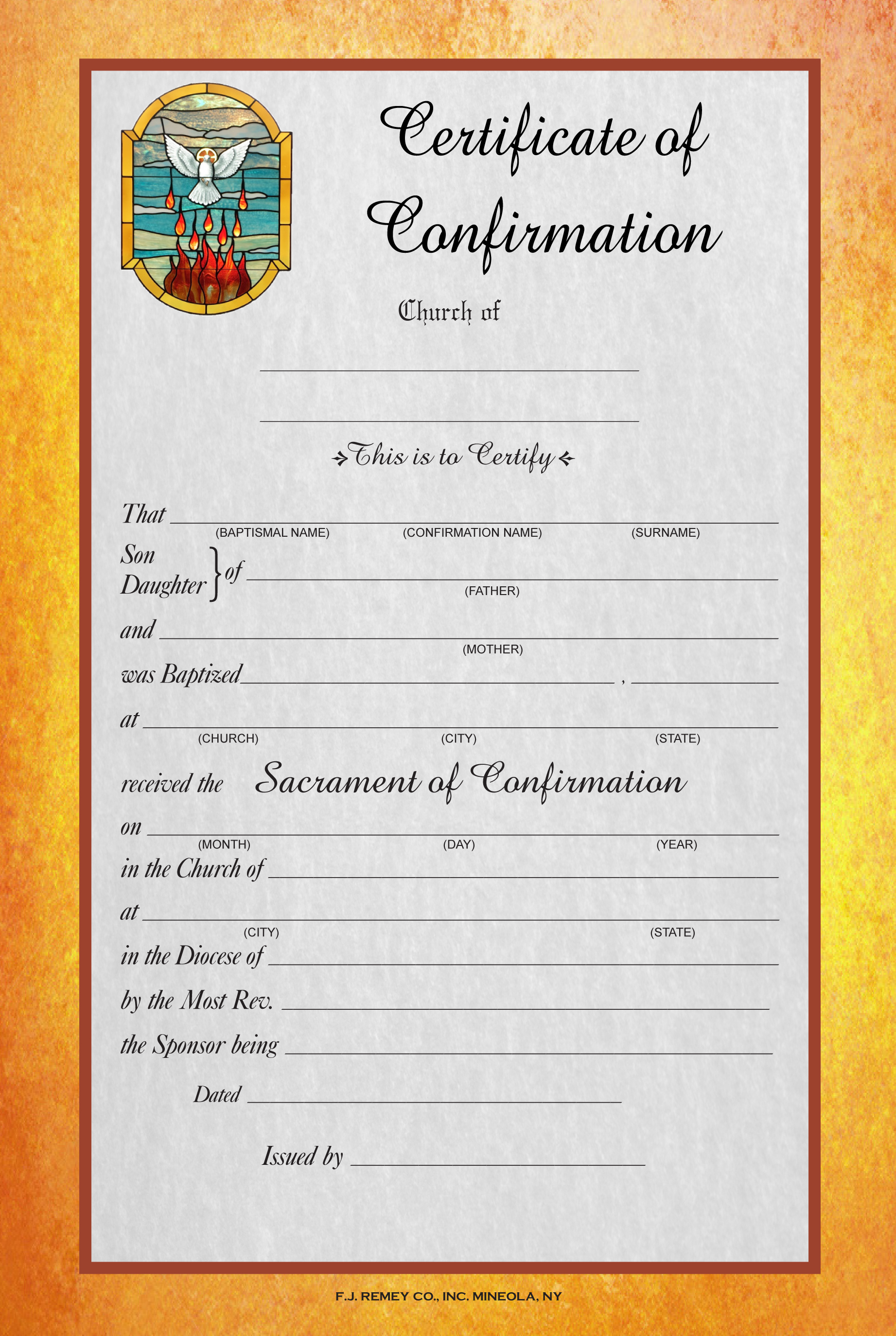 Confirmation Certificate Full Color