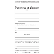 No. 310 Marriage Notification - 3 Part Set